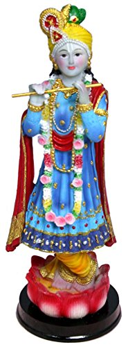 "Blue Lord Krishna Statue Hindu God Sculpture 9"" Idol Murti Golu Doll"