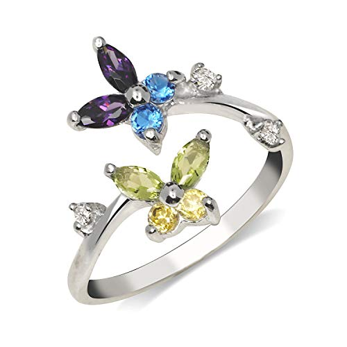JewelryWeb Solid 10K Yellow or White Gold Butterfly Adjustable Multi-Color Cubic Zirconia CZ Toe Ring (12mmx15mm) (White-Gold)