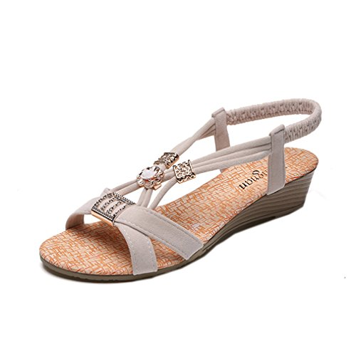 Vovotrade® Sommer Frauen Wedges Schuhe Bohemia Beaded Freizeit Lady Sandalen  Peep Toe Outdoor Schuhe Weiß