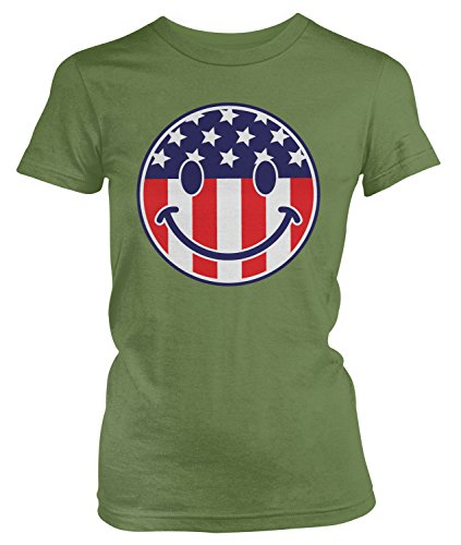 Flag Smiley Face, American Flag Smile T-shirt, Moss Green Small ()
