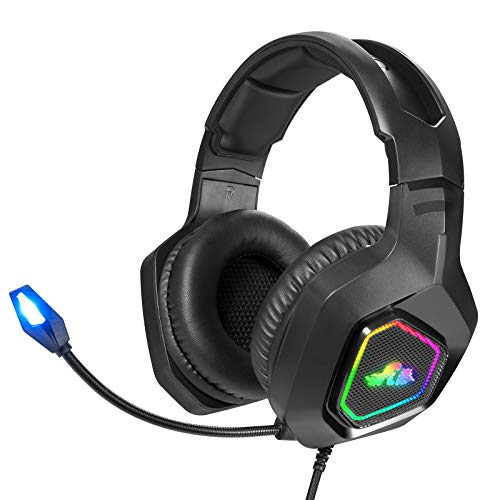 Rii Gaming Headset, PC Gaming Headphone Stereo Headset Wired Gaming Headphones with Noise Canceling Mic & LED Light for…