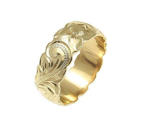 (14K yellow gold hand engraved Hawaiian plumeria scroll band ring cut out 8mm size 11.5)