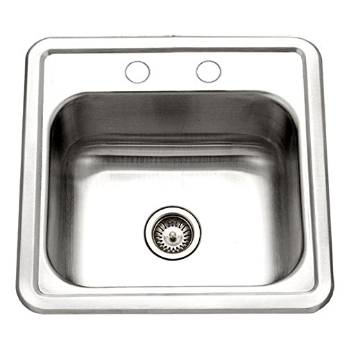 (Houzer 1515-6BS-1 Hospitality Series Topmount Stainless Steel 2-Holes Bar/Prep Sink)