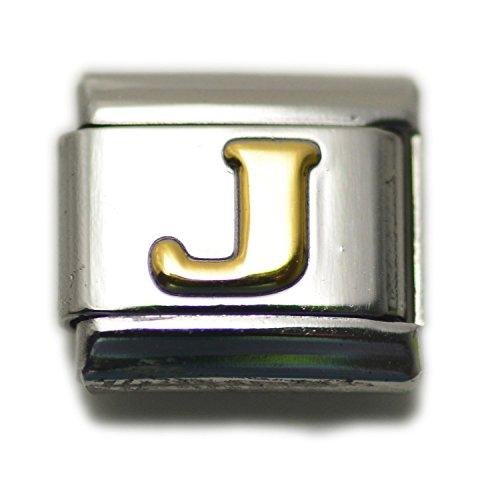 Dolceoro Initial J Letter Alphabet, 9mm Type Italian Modular Charm Bracelet Link - Stainless Steel (Bracelets Charm Italian)