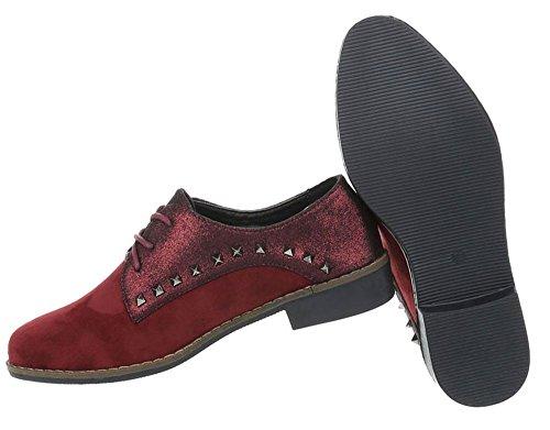 Damen Schuhe Halbschuhe Schnürer Weinrot