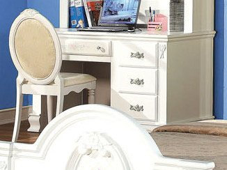 ACME 01687-SET Flora Student Desk with Hutch, White Finish