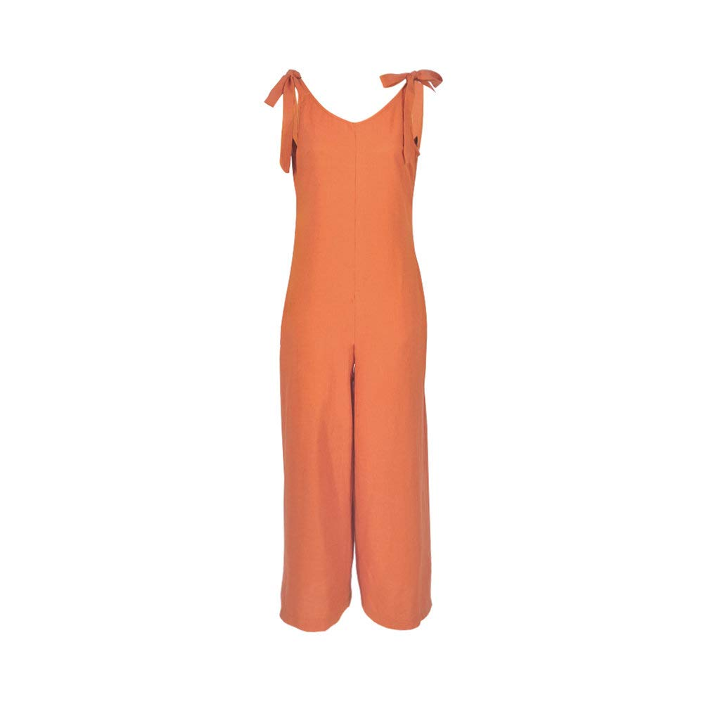 Desirepath Women Summer Rompers Jumpsuits Vacation Sleeveless Wide Leg Pants Playsuit Orange