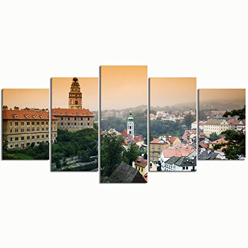 WINCAN Paintings Modern Canvas Painting Wall Art Pictures 5 Pieces Cesky Krumlov Castle Overlooking The Town of Wall Decor HD Printed Posters Frame