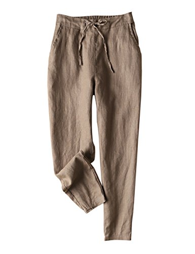 IXIMO Women's Tapered Pants 100% Linen Drawstring Back Elastic Waist Pants Trousers with Pockets (Dark Khaki, XX-Large)