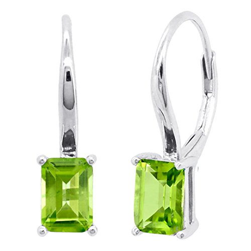 Sterling Silver Genuine Natural Emerald Cut Aquamarine Amethyst Blue Topaz or Garnet Leverback Earrings (Peridot)
