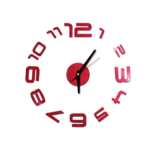 Konxxtt 3D DIY Wall Clock Stickers, Modern Home Office Decorations Frameless Numbers Stickers Creative Gift(Red,Diameter 15.7