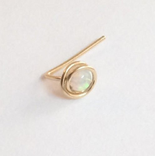 Tiny Opal Nose Stud Gold Silver Piercing 22 gauge