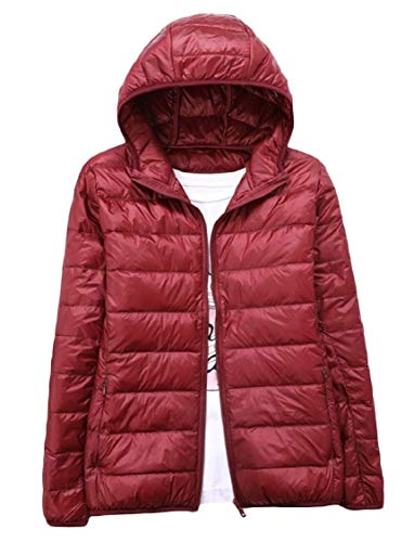 EnergyMen Solid Color Hood Ultra Light Weight Full-Zip Outwear Puffer Down Parka Wine Red