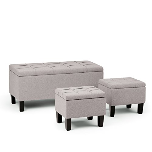 Simpli Home AXCOT-238-CLG Dover 44 inch Wide Contemporary  Storage Ottoman in Cloud Grey Linen Look Fabric