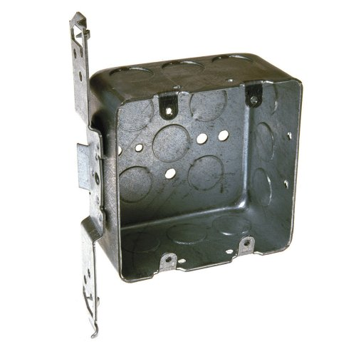 Hubbell-Raco 681 2-Device, 2-1/8-Inch Deep, 1/2-Inch Side Knockouts, Wood/Metal Stud Bracket 4-Inch Square Switch Box, Drawn