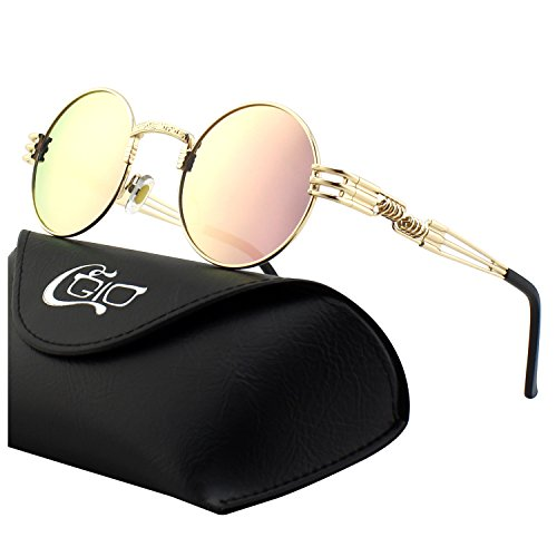 CGID E73 Retro Steampunk Style Inspired Round Metal Circle Polarized - Gold Circle Sunglasses