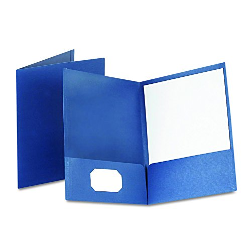 Oxford Linen Finish Two-Pocket Folders, Navy, Letter Size, 25 per box (53443)