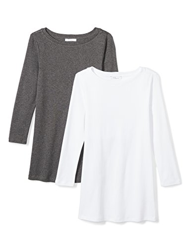 Daily Ritual Women's Midweight 100% Supima Cotton Rib Knit 3/4-Sleeve Boat Neck T-Shirt, 2-Pack, L, Charcoal Heather Grey/White (Rib Sleeve Tee)