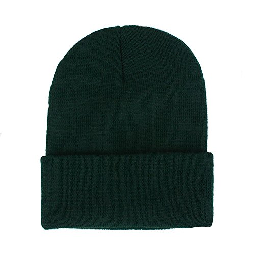CANCA Unisex Cuff Warm Winter Hat Knit Plain Skull Beanie Toboggan Knit Hat/Cap (Dark - Beanie Cap Knit Hat Green