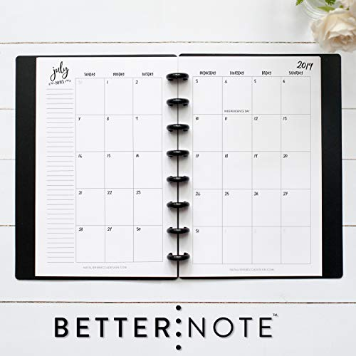 BetterNote 2019-2020 Monthly Calendar for Disc-Bound Planners, Fits 8-Disc Levenger Circa Junior, Arc, Half Letter Size 5.5