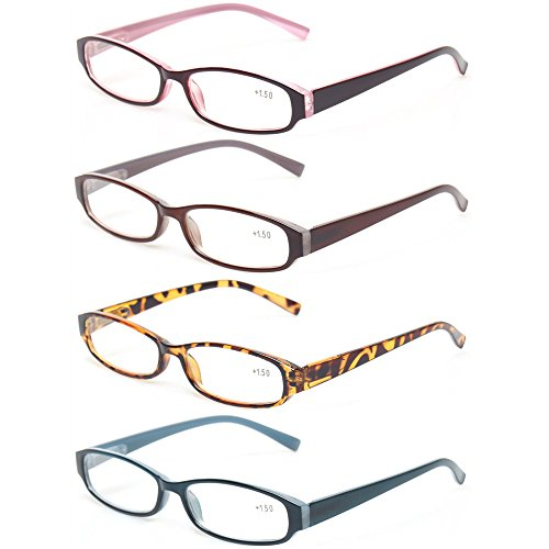 Reading Glasses Comb Pack of Multiple Fashion Men and Women Spring Hinge Readers (4 Pack 1Red 1Brown 1Blue 1Tortoise, 4.0)