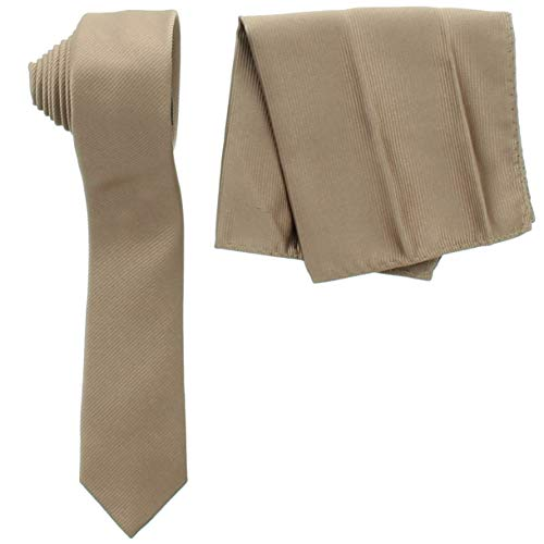 Men's Skinny Slim Tone on Tone Texture Satin Neck Tie and Pocket Square Handkerchief Matching Set By Milani (Light Brown)