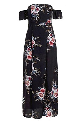 Floral Dress Women's High Shoulder Waist Stylish Maxi Sun Coolred Black Off gA1qx