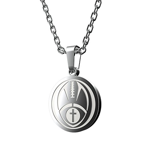 Haoflower Sports Pendant Necklace Football Inspirational Bible Verse Luke 1:37 Christian Gift for Teens