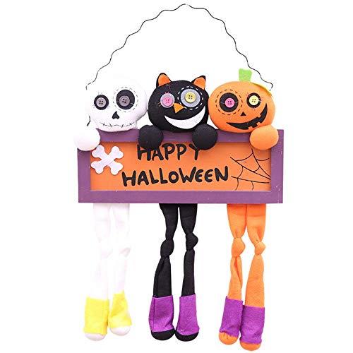 KOBWA Happy Halloween Hanging Sign, 3 Pcs Halloween Door Hanging Dolls, Hanging Front Door Decoration Halloween Party Supplies, Halloween Hanging Plush Doll for Home Yard Patio Lawn Garden Ornaments