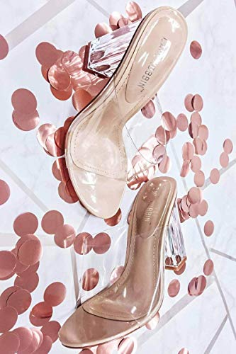 Clear Mule - Cape Robbin Shoes Fusion Translucent Block High-Heel Mule Open Toe Sandal (10) Nude