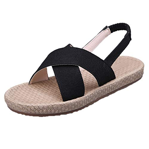 - TOTOD Women Slippers Bohemian Open Toe Sandals Weaving Bottom Flat Cross Set Walk Shoes Black