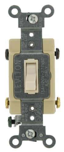 Amp, 120/277-Volt, Toggle Framed 4-Way AC Quiet Switch, Commercial Grade, Grounding, Light Almond ()