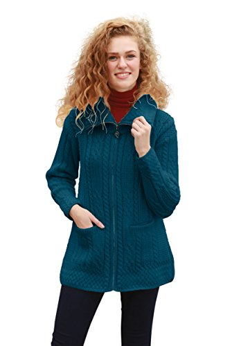Carraig Donn Irish Coatigan Wool Knit Zipper (Large) ()