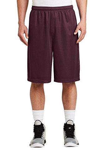 Sport-Tek Men's Extra Long PosiCharge Classic Mesh Short, Maroon, Small