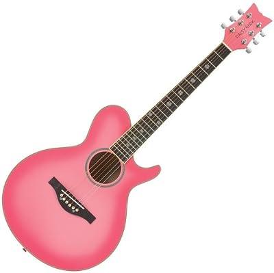 Daisy Rock Wildwood Short Scale Acoustic Guitar, Pink Burst