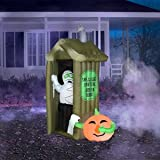 6.5' Tall Airblown Inflatable Halloween Mummy Coming out of Outhouse