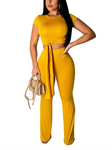 Succi Women's Short Sleeve Wide Leg 2 Piece Outfit Jumpsuits Ribbed Knit Crop Tops Long Pant Tracksuits Set Yellow S