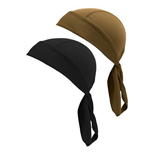 (Beauty7 2PCS Men Women Adjustable Head Tie Sports Headband Quickly Dry Sweat Wicking Full Head Hair Wrap Cap Pirate Bandana Beanie for Cycling Running Gym Tennis Black)