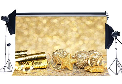 Gladbuy Happy New Year 2019 Backdrop 7X5FT Vinyl Christmas Balls Backdrops Golden Stars Lucky Charm Bokeh Sequins Photography Background for Family New Years Eve Celebration Photo Studio Props EB104