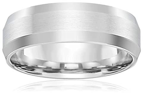 10k White Gold 6mm Comfort-Fit Wedding Band with Satin Center and High-Polish Beveled Edges, Size (6 Mm White Gold Band)