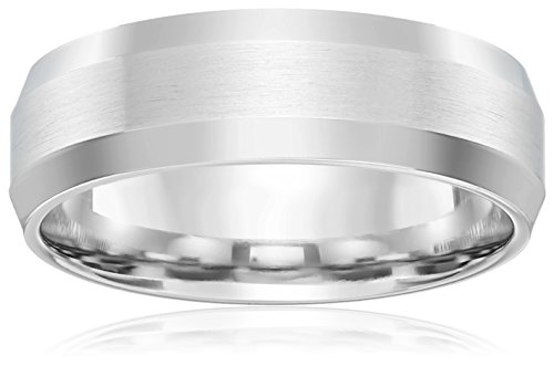 10k White Gold 6mm Comfort-Fit Wedding Band with Satin Center (Comfort Fit Satin Band Ring)
