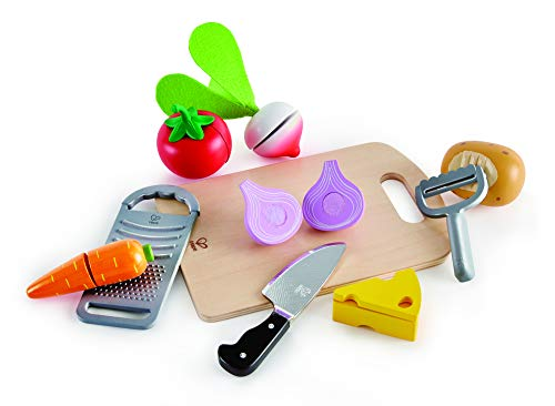 Hape Cooking Pretend Play Food Set for Kids - Set Includes Cuttable Play Vegetables, Peeler, Knife, Cutting Board and Grater-12 PCs