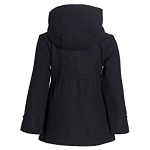 Pink Platinum Big Girls' Toggle Wool Jacket, Black, 14/16