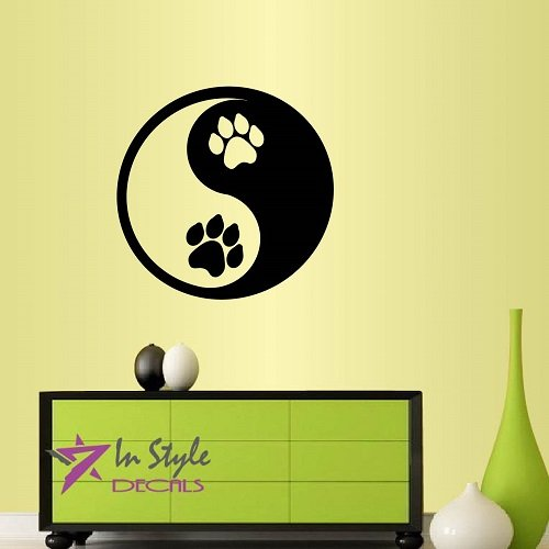 - Wall Vinyl Decal Home Decor Art Sticker Yin Yang Dog Paw Prints Animal Symbol Pet Store Shop Grooming Salon Veterinary Room Removable Stylish Mural Unique Design
