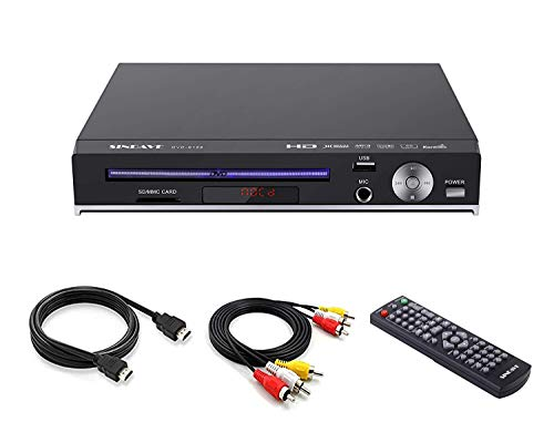 DVD Player for TV, Compact DVD Players Region Full HD Upscaling 1080p UpConverting DivX, USB Direct Recording and Playback, SD Cardreader Karaoke Mic Port