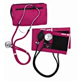 MABIS MatchMates Aneroid Sphygmomanometer and Sprague Rappaport Stethoscope Combination Manual Blood Pressure Kit with Calibrated Nylon Cuff, Magenta