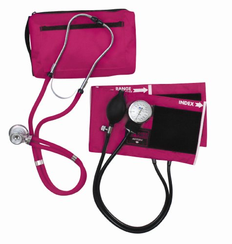 MABIS MatchMates Aneroid Sphygmomanometer and Sprague Rappaport Stethoscope Combination Manual Blood Pressure Kit with Calibrated Nylon Cuff, Professional Quality, Carrying Case, Magenta