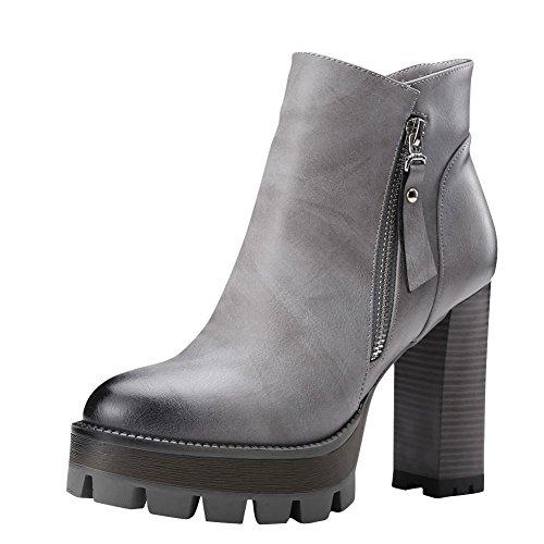Retro Boots Women's Short Styllish Carolbar Grey Platform Zip v1xaU4R
