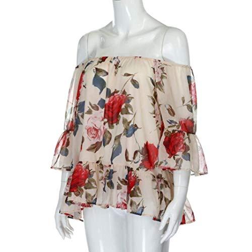 Mode Motif Shirt Vintage Bateau Manches Trompette Style lgant Femme Moderne Et Tee Encolure Dcontract B Haut Costume Nues Mousseline navy Blouse Chemise Mode Jeune Fleur paules Chic wxqp6SIv