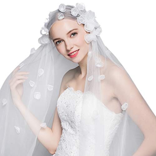 JAGETRADE 1.5x2M One-Layer Women Tulle Fingertip Short Wedding Veil Handmade 3D Butterfly Flower Petals Geometric Thin Sheer Bridal Veil